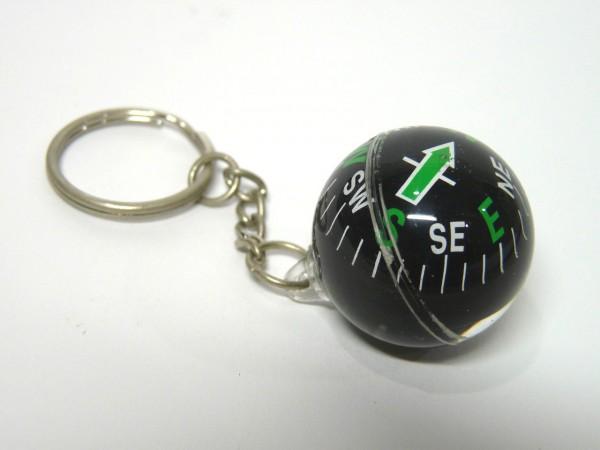 百均浪漫◆ダイソー方位磁石(球型)キーホルダー