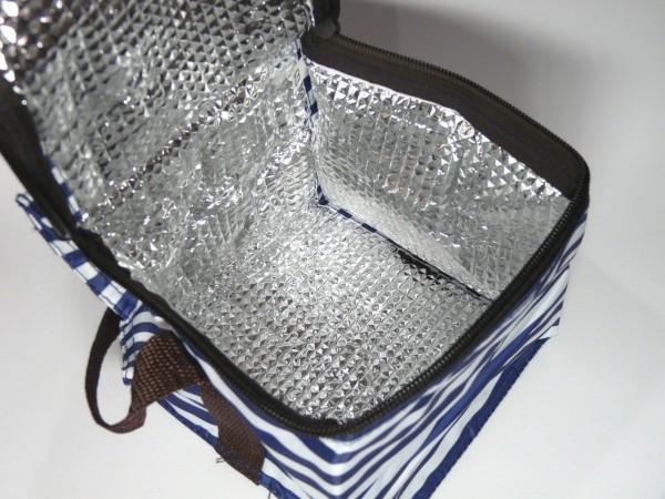 百均浪漫◆ダイソー保温保冷アルミバッグS 350ml4本用ボーダー柄
