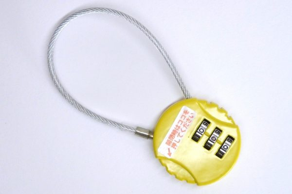 百均浪漫◆何度も番号に設定ができるワイヤー付きダイヤルロック