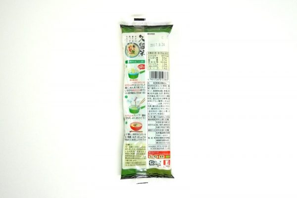 百均浪漫◆五木食品 久留米ネギとんこつラーメン。パッケージ裏側。
