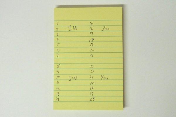百均浪漫◆はがき大メモふせん 横罫線15段入り。2週間、または4週間分の予定とか。