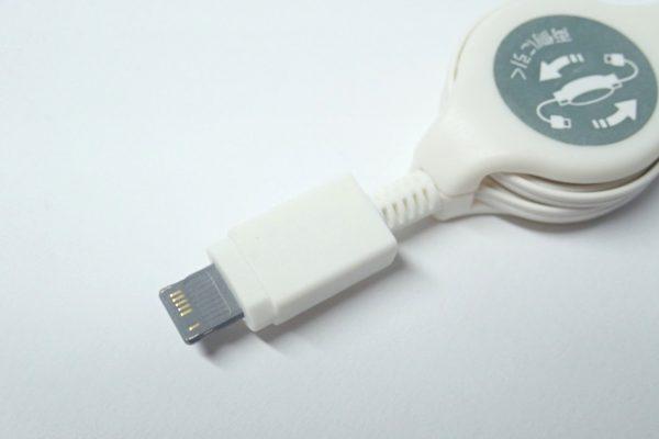 百均浪漫◆E Core iPhone専用リール式USB充電専用ケーブル。ライトニングコネクタ部。