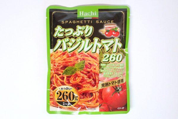 百均浪漫◆ハチ食品 スパゲッティソース たっぷりバジルトマト 260g。パッケージ表側写真。
