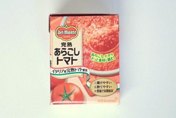 百均浪漫◆デルモンテ完熟あらごしトマト388g。パッケージ表側写真。