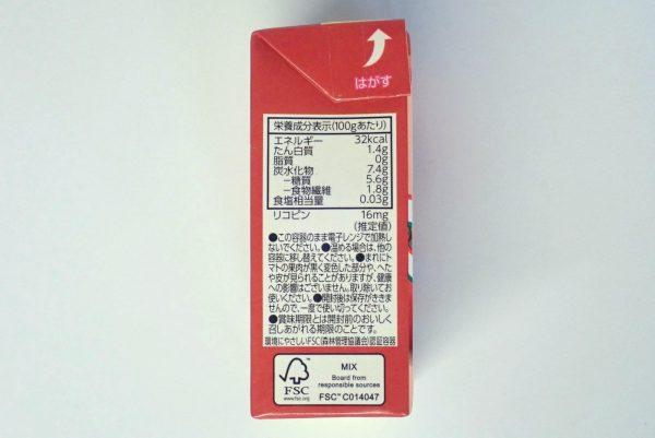 百均浪漫◆デルモンテ完熟あらごしトマト388g。パッケージ側面写真。