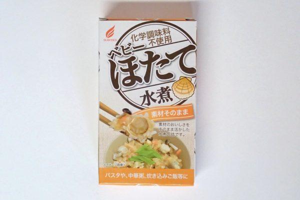 百均浪漫◆ベビーほたて水煮缶詰。パッケージ表側写真。