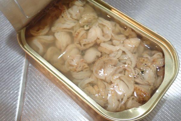 百均浪漫◆ベビーほたて水煮缶詰。中身写真。