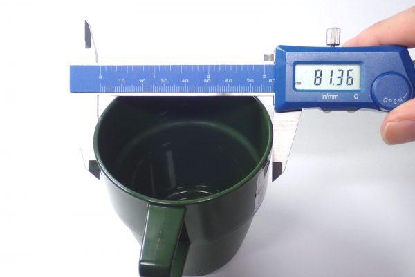 百均浪漫◆日本製。耐熱温度140℃。樹脂製スタッキングマグ。サイズ測定。