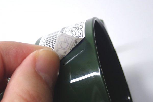 百均浪漫◆日本製。耐熱温度140℃。樹脂製スタッキングマグ。シールはきれいに剥がれるよ。