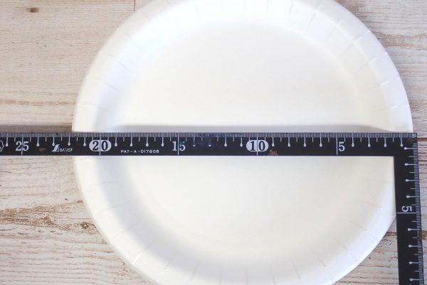 百均浪漫◆サンナップ ストロングナチュラルプレート 22m 5枚入。サイズ測定。