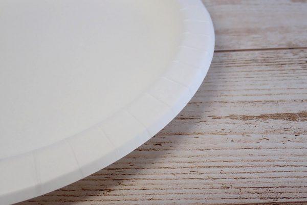 百均浪漫◆サンナップ ストロングナチュラルプレート 26cm 3枚入。製品詳細写真。