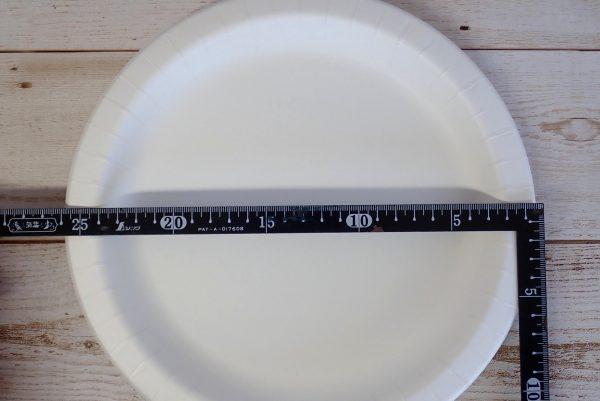 百均浪漫◆サンナップ ストロングナチュラルプレート 26cm 3枚入。サイズ測定。