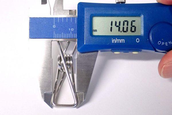 百均浪漫◆ステンレスピンチ 5P。ステンレスピンチ、サイズ測定。
