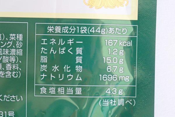 百均浪漫◆ハチ食品 クイックパスタ バジル パスタソース。パッケージ裏側詳細写真。栄養成分表示。