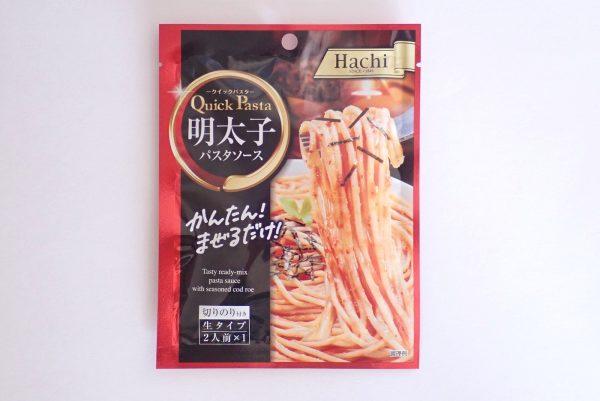 百均浪漫◆ハチ食品 クイックパスタ 明太子 パスタソース。パッケージ表側写真。