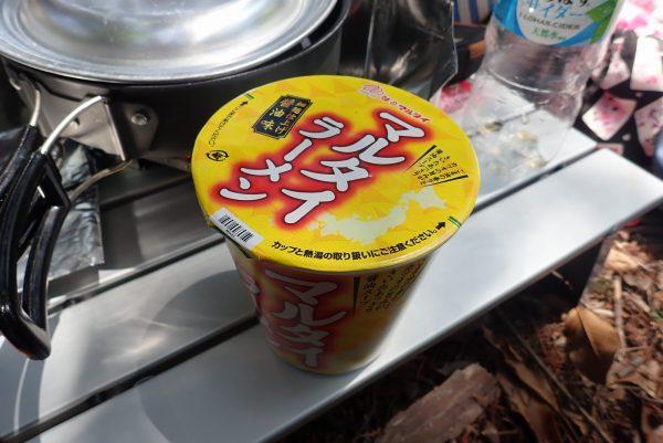 百均浪漫◆マルタイラーメン。細麺醤油味のカップ麺。ハイキングに持って行ったよ!