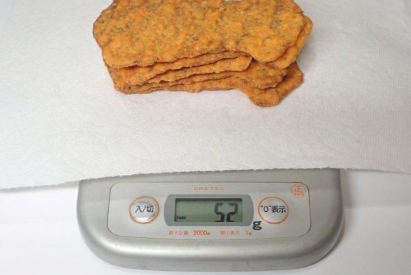 百均浪漫◆なとり いかフライ ピリ辛味。重さ測定。