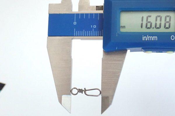 百均浪漫◆ダイソー 釣り道具 ワンタッチスナップ。ワンタッチスナップのサイズ測定。