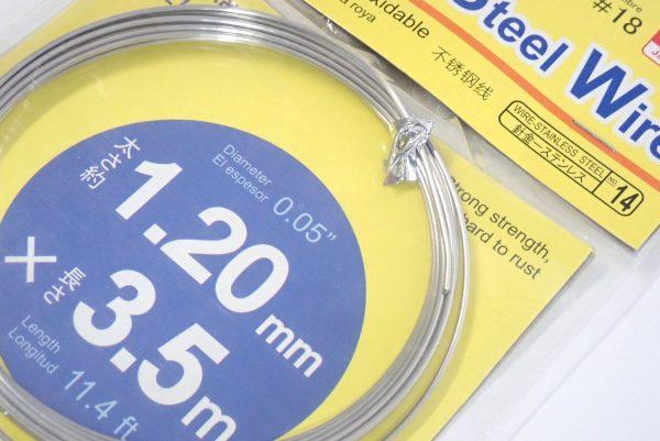 百均浪漫◆ステンレス針金 太さ約1.20mm x長さ3.5m。