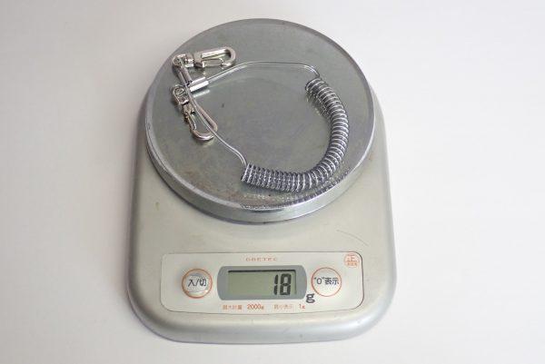 百均浪漫◆フジサキ F-927 強力スプリングコード ワイヤー入り。重量測定。