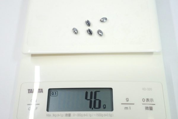 百均浪漫◆ダイソー 釣 割りびし7種。割りびし、重量測定。