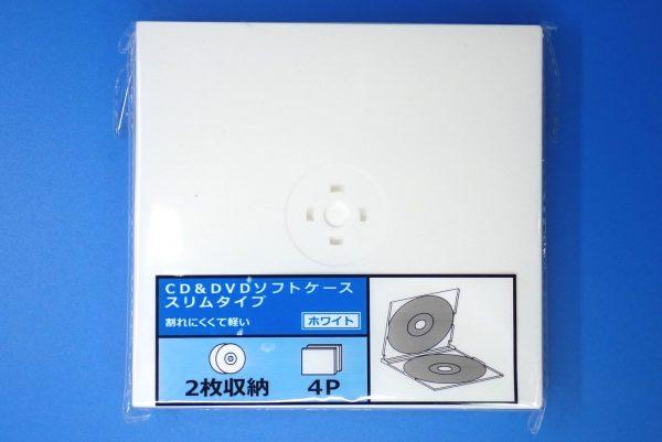 百均浪漫◆CD&DVDソフトケース スリムタイプ 2枚収納。パッケージ表側詳細写真。
