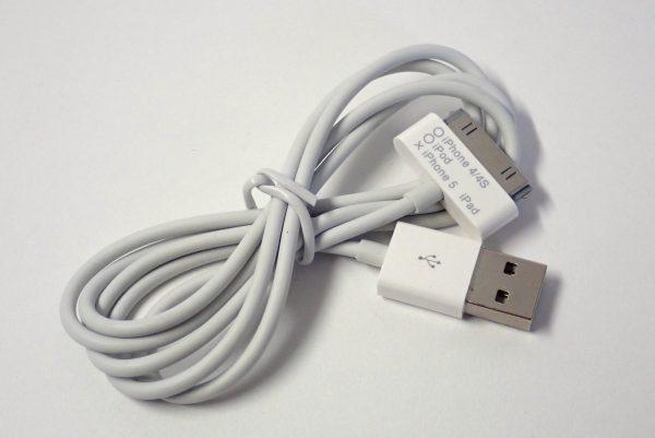百均浪漫◆エコラ iPod、iPhone4/4s~充電&転送USBケーブル100cm。ケーブル詳細写真。