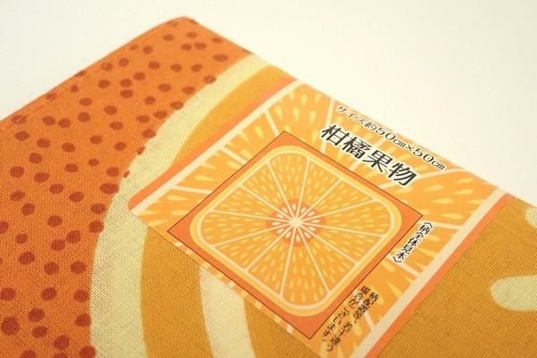 てぬぐい風バンダナ 柑橘果物 約50 x 50cm。ハンカチ代わりにしたりお弁当包んだり。 @100均 セリア