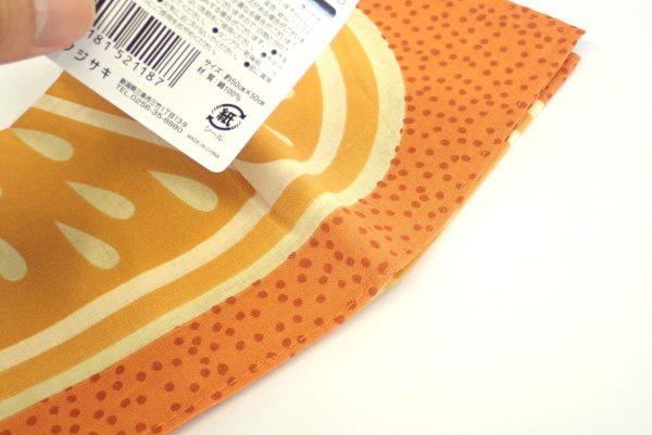 百均浪漫◆フジサキ てぬぐい風バンダナ 柑橘果物。ラベルはシール。