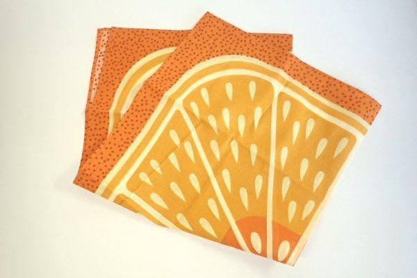 百均浪漫◆フジサキ てぬぐい風バンダナ 柑橘果物。縫製とか。