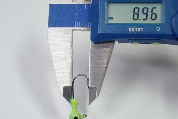 百均浪漫◆ダイソー・釣・メバル&カサゴ用ジグヘッド 2g x3。サイズ測定。