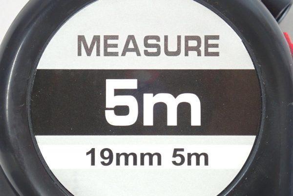 百均浪漫◆ストッパー付メジャー 5m。パッケージ表側詳細写真。