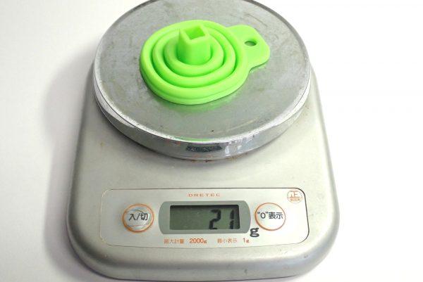 百均浪漫◆100均最小?たためるシリコンロートミニ。本体詳細写真。重量測定。