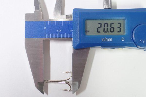 百均浪漫◆ダイソー・釣・トレブルフック6号4本入り。寸法測定。