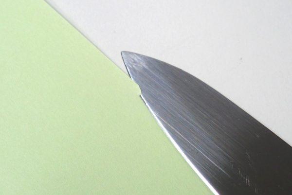 百均浪漫◆ダイソー・フルーツナイフ。箱だし状態の切れ味チェック。