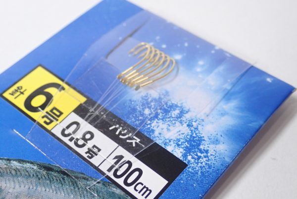 百均浪漫◆ダイソー・釣・アジ釣 針6号 ハリス0.8号100cm。釣り針詳細写真。