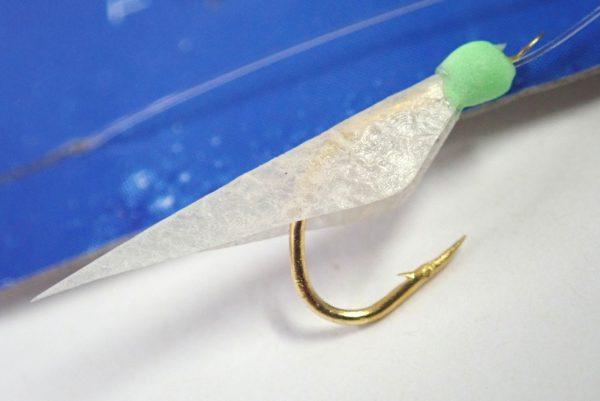 百均浪漫◆ダイソー・釣・サビキ仕掛け(ハゲ皮)。釣り針、疑似餌詳細写真。