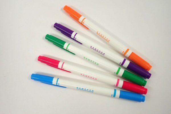 百均浪漫◆油性なまえマーカーツインタイプ 5色。5本、並べてみたよ。