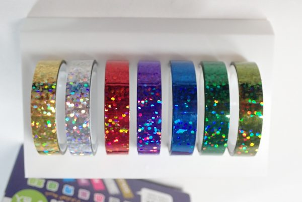 百均浪漫◆ホログラムテープ7色。パッケージから出してみたところ。