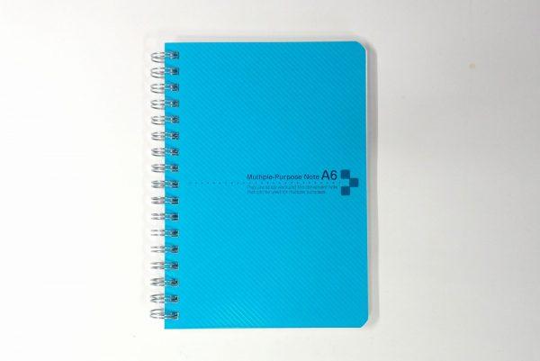 百均浪漫◆表/背表紙も樹脂、ミシン目入りA6リングノート。表側詳細写真。