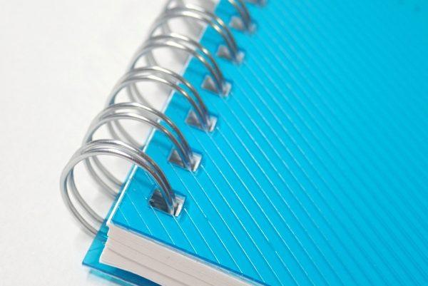 百均浪漫◆表/背表紙も樹脂、ミシン目入りA6リングノート。ダブルリング。