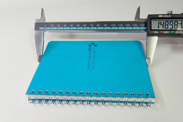 百均浪漫◆表/背表紙も樹脂、ミシン目入りA6リングノート。サイズ測定。