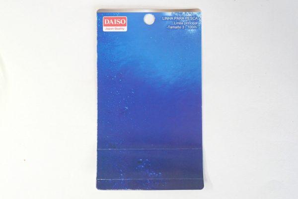 百均浪漫◆平行巻きナイロン糸使用の道糸3号100m、黄色。ダイソー釣具によくあるデザインの台紙。たぶん、全体像はこの製品ぐらい?