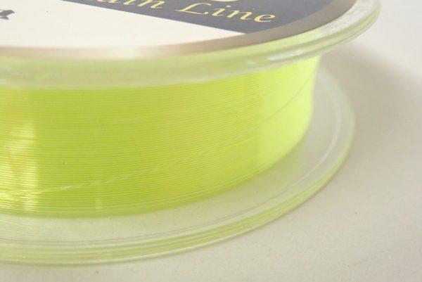 百均浪漫◆平行巻きナイロン糸使用の道糸3号100m、黄色。きれいにラインが巻かれている。
