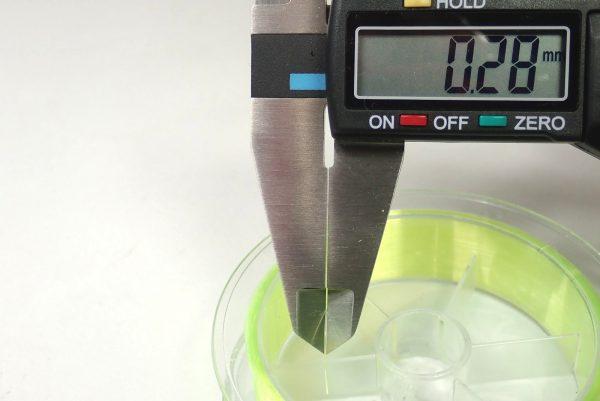 百均浪漫◆平行巻きナイロン糸使用の道糸3号100m、黄色。太さを測ってみる。