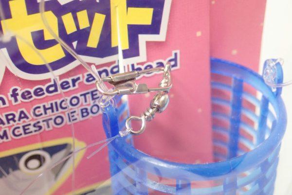 百均浪漫◆カゴ・シモリ玉付きサビキ仕掛けセット針7号。アミカゴはスナップ付き。