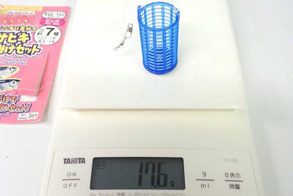 百均浪漫◆カゴ・シモリ玉付きサビキ仕掛けセット針7号。アミカゴは4~5号相当。