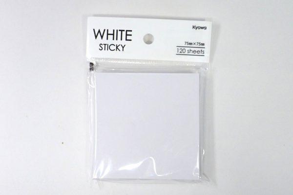 百均浪漫◆白い付箋紙75x75 120枚。パッケージ表側詳細写真。