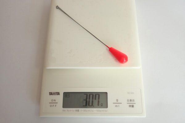 百均浪漫◆釣り・オモリ・天秤付き ちょい投げ仕掛け。オモリの重さは30.7g。8号相当かな。