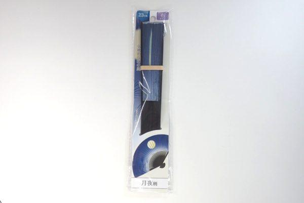 百均浪漫◆23cm扇子・月夜柄。パッケージ表側。